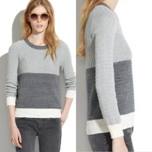 Madewell | Linear Color Block Grey Sweater